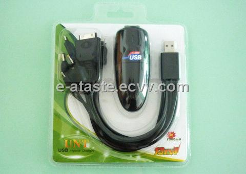 USB Hybrid Charger (Travel charger + Car charger + 10 in 1 cable) For Mobile Phone(EAT-043)