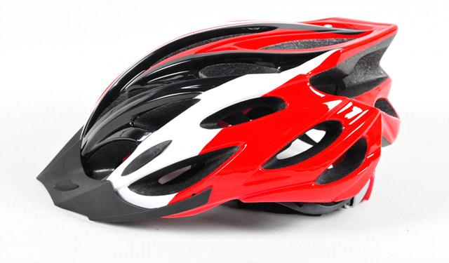 red and black color mountaion bike helmet with the visor