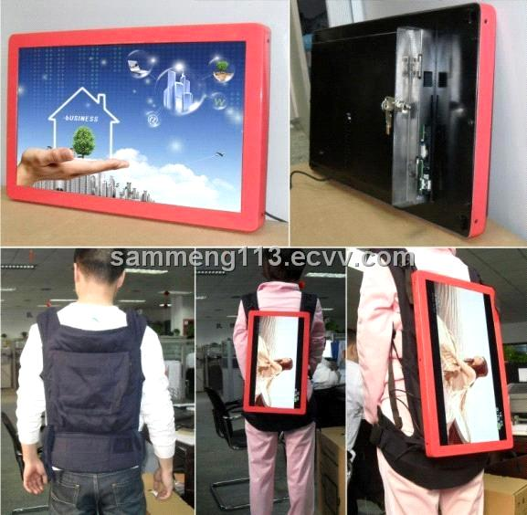 18.5 Inch Backpack Advertising Player with Cherry Red