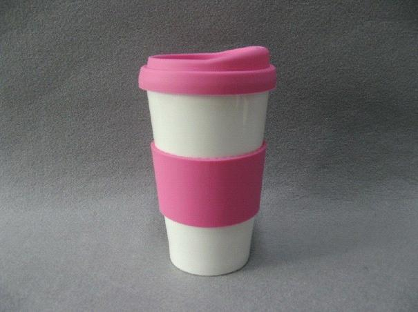 Double Wall Take Away Coffee Mug With Silicone Lid And Band