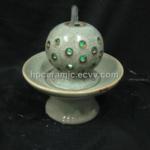 Lovely Green Glazed Hollow Ball Ceramic Tabletop Fountain