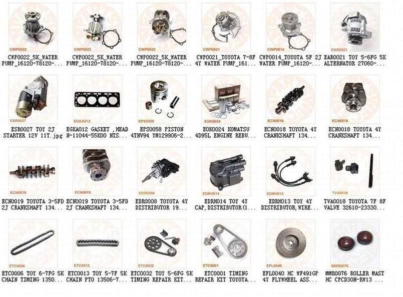 Toyota 2j 4y 5k Forklift Engine Parts Purchasing Souring