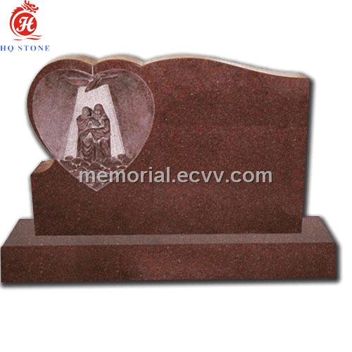 red granite with heart carving New Zealand tombstones and monuments