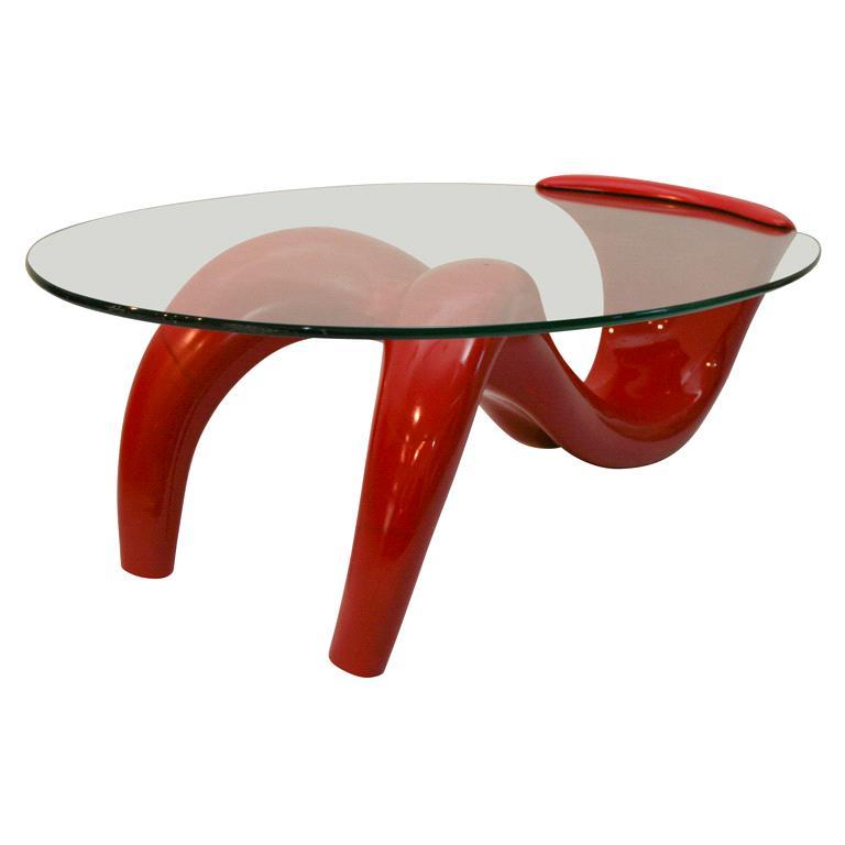 German Red Fiberglass Table