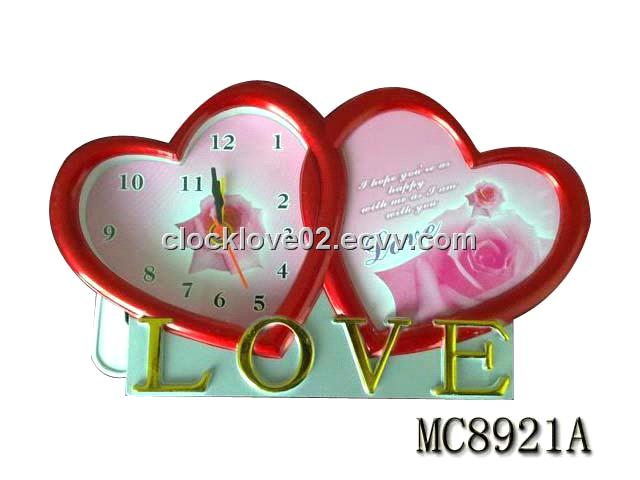 Double heart clock with photo frame purchasing, souring agent | ECVV ...