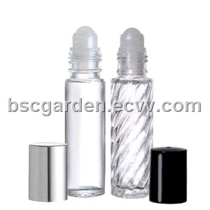 glass roll on bottle with black plastic cap