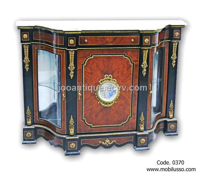 LUXURIOUS French Antique Louis XVI Credenza Vitrine With Gilt Bronze  Amounted
