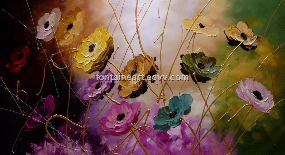 Hot sale beautiful flower oil painting, hand made Acrylic painting