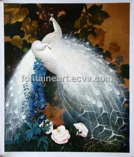 hand made peacock oil painting, vivid and elegent animal painting