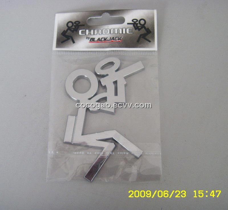 Custom ABS Chrome Plating Car Emblem Badge Sticker, paintball badge