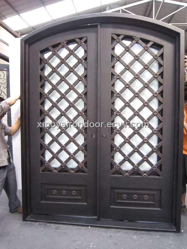 Unique home designs wrought iron grill double security door ... on