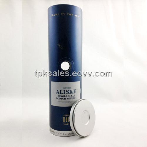 round wine shipping packaging, unique metal packaging, metal wine storage box,tinpak tin box,