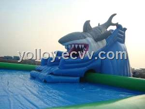 Giant Inflatable Swimming Pool With Shark Attack Slide Purchasing, Souring  Agent | ECVV.com Purchasing Service Platform