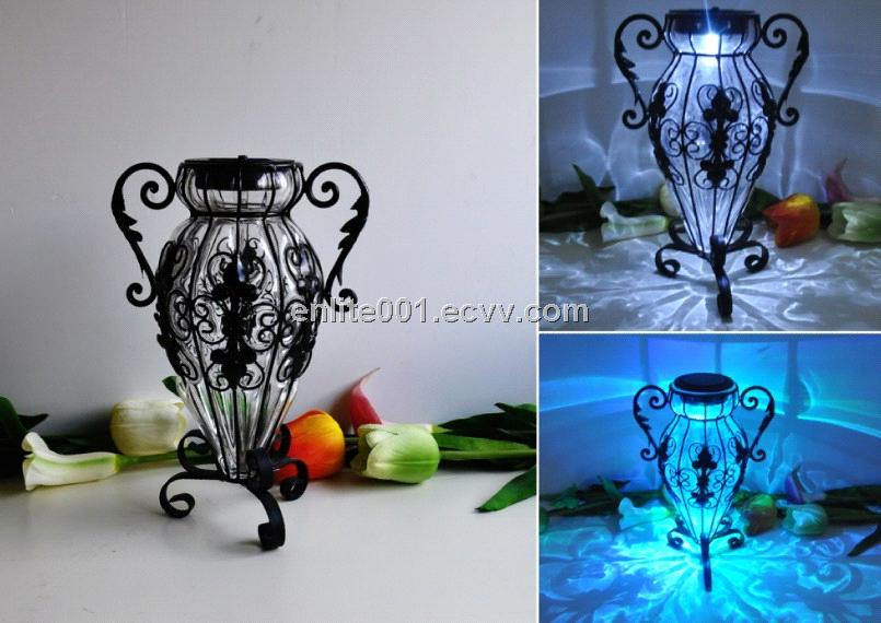 Led Solar Home Decoration Lightglassmetalflower Vase As Well8