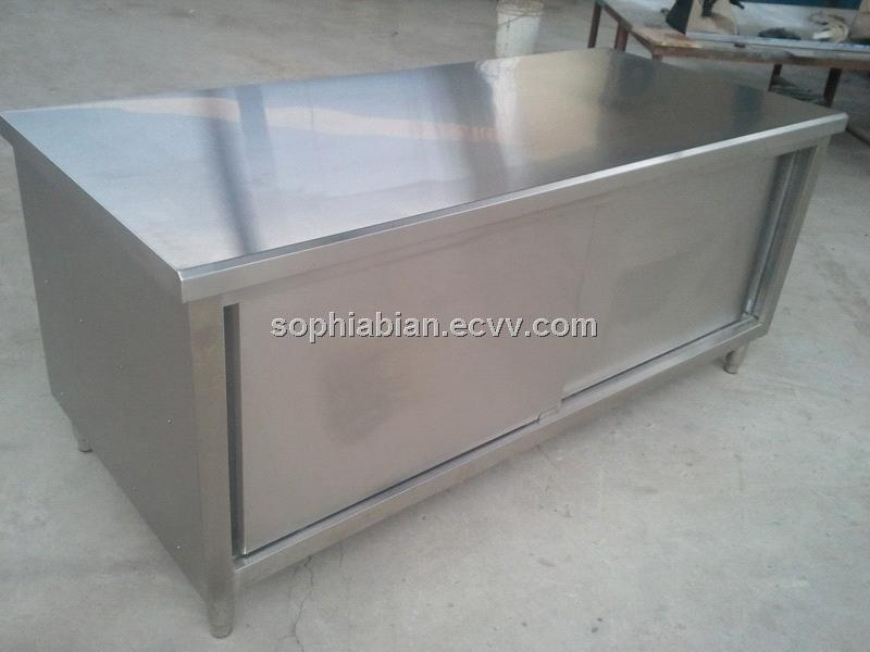 Stainless Steel Storage Cabinet With Sliding Doors