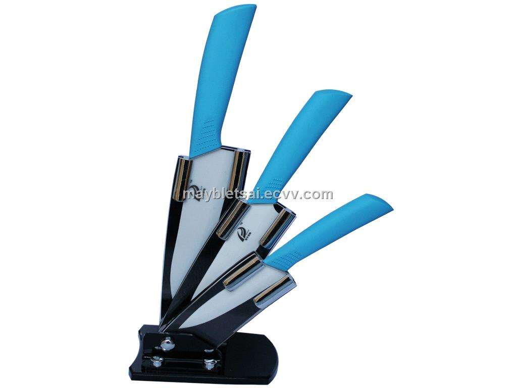 3 Pcs Ceramic Kitchen Knife Set With Acrylic Block Blue