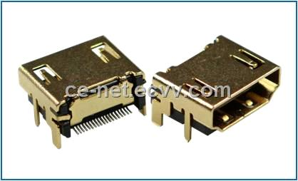 HDMI A type Right Angle, Receptacle, Through Hole, Standard Type