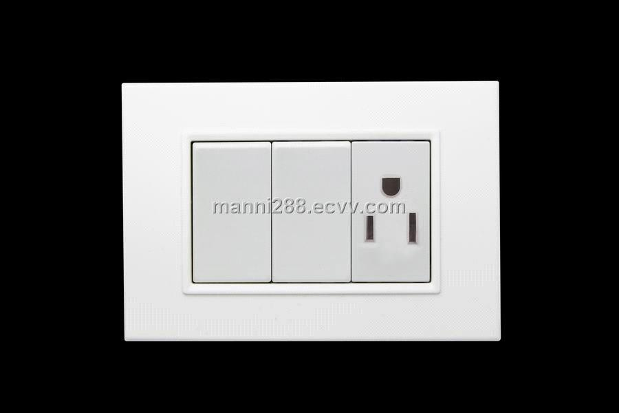 Simple Double Switch Socket with American 15A Wall Power Socket ...