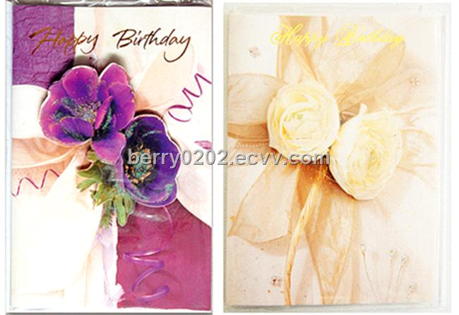 Beautiful 3D Flower Paper Birthday Greeting Card With Glitter Powder