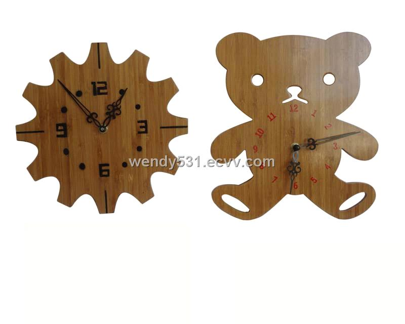 Cute Animal Design Bamboo Craft Clock Mj 1057 Purchasing Souring