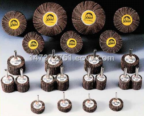 Abrasive flap wheels with shafts