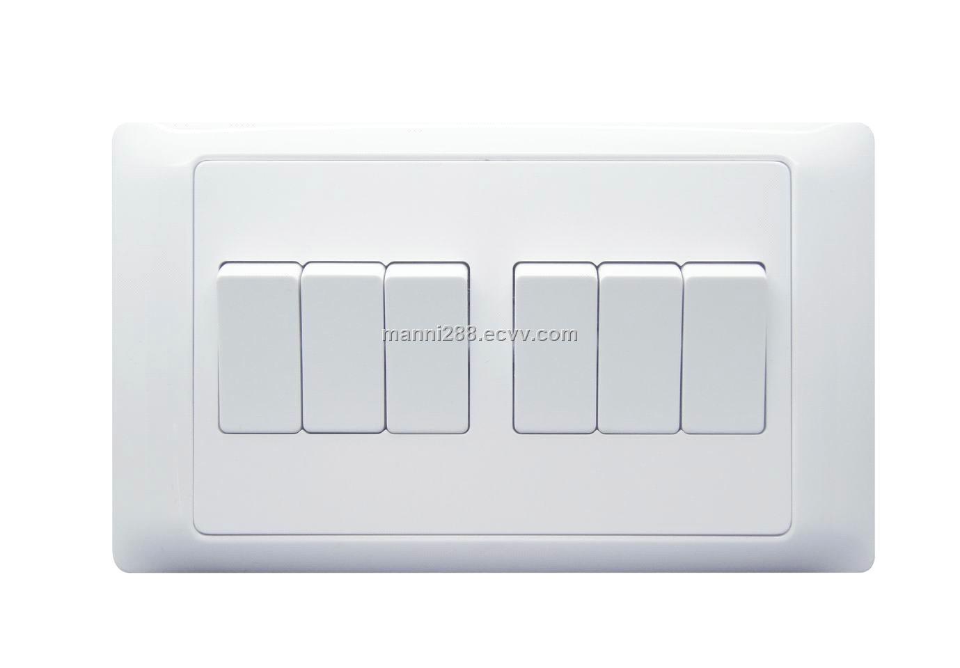 British standard, SASO mark, 6 gang -1 way switches, 10A/15A 250v ...