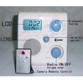 LCD Bathroom Radio Motion Activated 720P HD Bathroom Spy Camera DVR 16GB  Remote Control On/