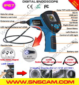 Video borescope with 2,4