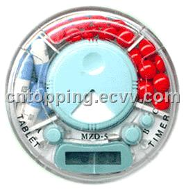 electronic pill box, plastic pill box, pill holder, pill box with alarm timer,