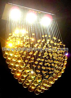 Golden Big Crystal Decoration Heart Shaped Pendant Lamp