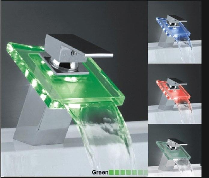 LED waterfall glass Basin faucet DH016