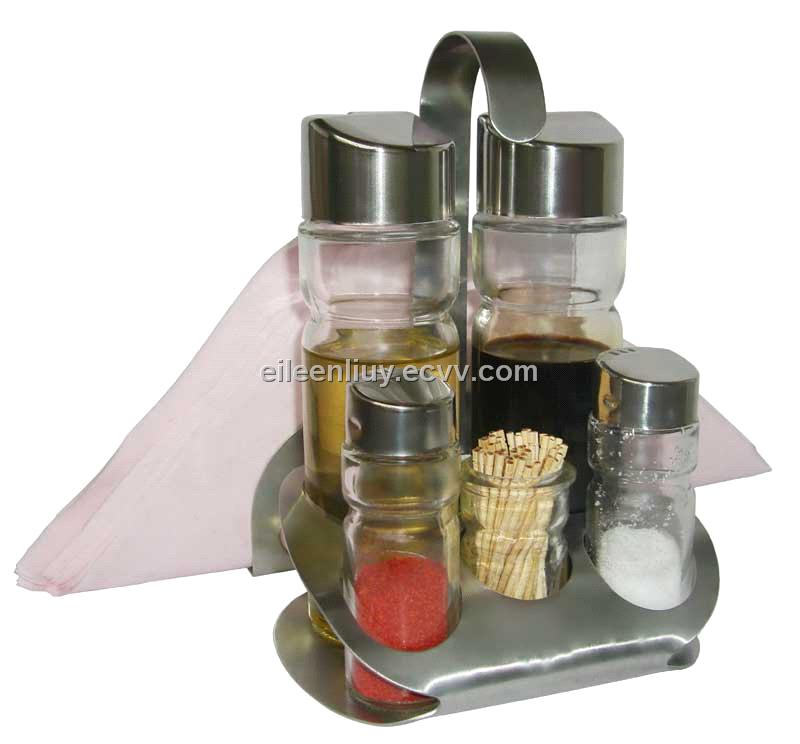Salt And Pepper Set With Napkin Holder And Toothpick