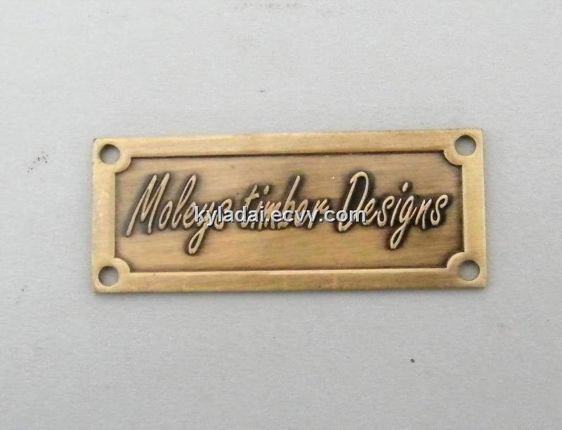 Embossed Metal Label Custom Badge Brass Furniture