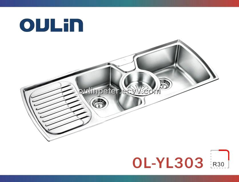 triple bowl stainelss steel sink with drain board (OL-YL303 ...