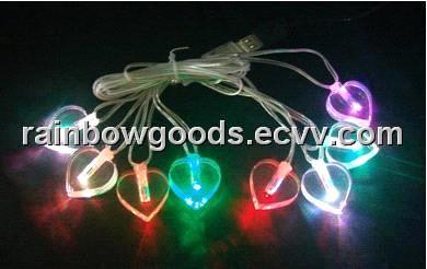 heart shaped led usb string lights led flashing giftsled christmas light chains
