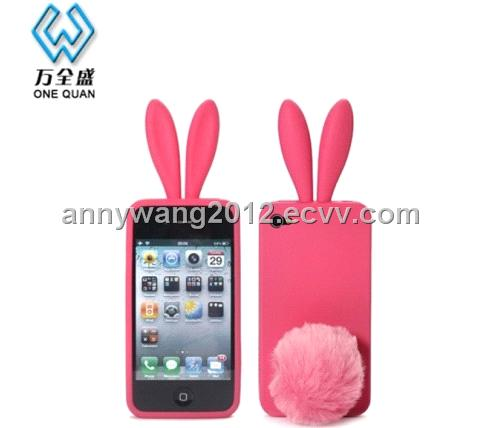 super popular 680f5 05fd4 Cute! rabbit ear silicone mobile phone case for iphone 4 as Christmas gift