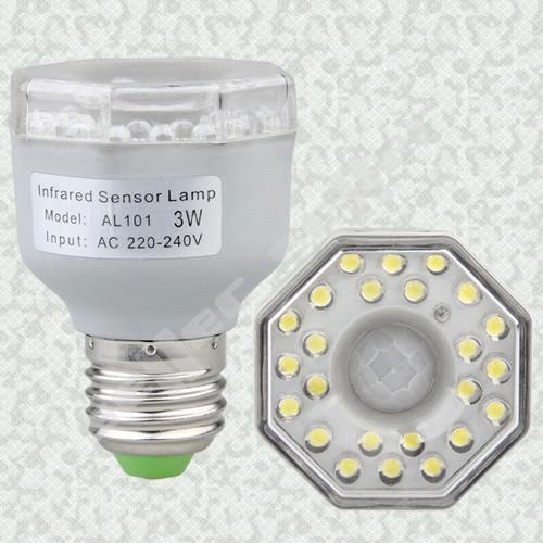 E27 IR Infrared Motion Sensor 24 LED Light Bulb Lamp 3W