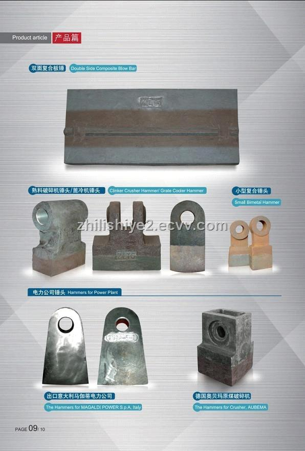 high chrome/manganese/bimetal crusher hammer