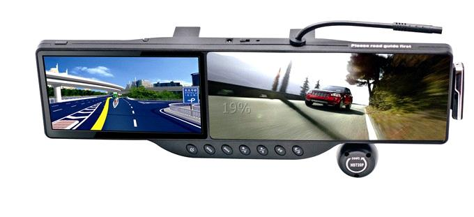 seven in one Multi-function rearview mirror and GPS navigation and travelling record