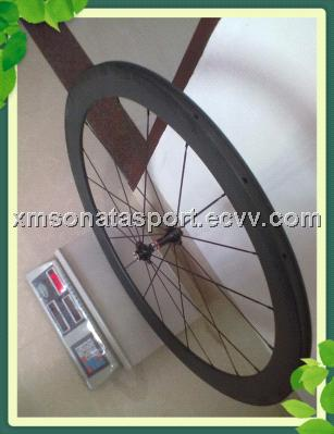 700C 50mm clincher carbon wheel sets with Novatec hub 1432 spokes free skewers