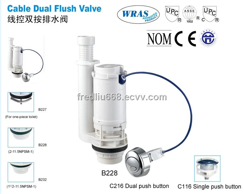 B228 steel cable dual flush valve toilet fitting bathroom ...