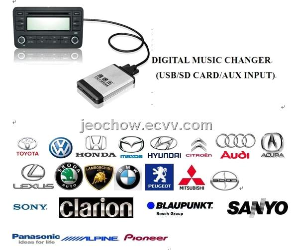 Car MP3 interface USB SD(Digital music changer) for RD4