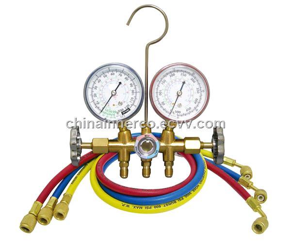 Brass Manifold Gauge R12  R22  R134a  R404A,R407C R410a