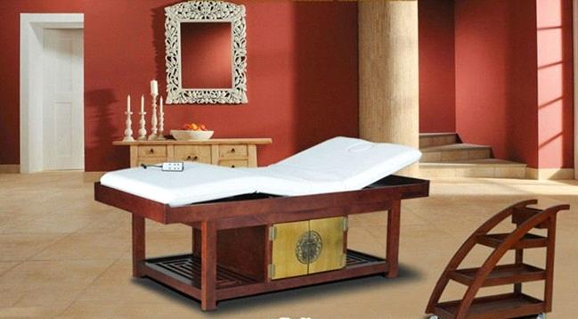 semi electric wood spa beauty bed with Goldleaf decoration 12D02 ...