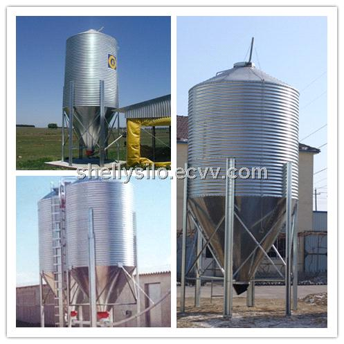 200t hopper bottom steel silo for animal feeds, flour mill storage steel silo