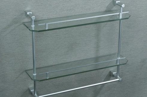 Two Layers Glass Shelf With Towel Bar Double Glass Shelf Bathroom