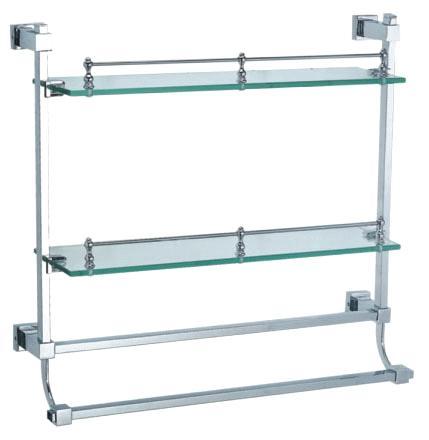 Two Layers Glass Shelf With Towel Bar Double Glass Shelf Bathroom