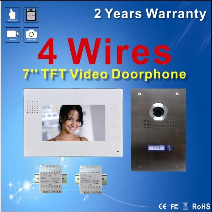 7'' Touch Key Video Doorphone intercom System with Stainless Steel Outdoor Camera 4 Wire Villa Kit