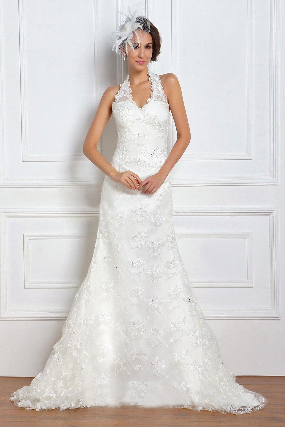 A line halter neck sleeveless crystal lace chapel train for Aline halter wedding dresses