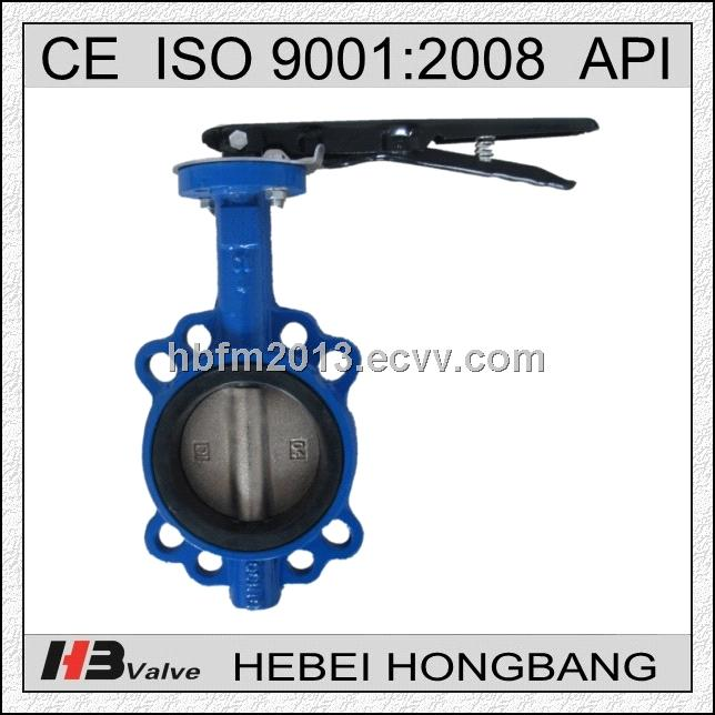 DN80 Handle level Wafer Type Cast Iron Butterfly Valve Without Pin